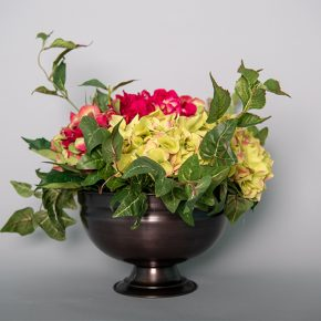 Green and Plum Hydrangea in an Antique Copper Bowl