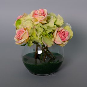 Green Hydrangea with Small Cream and Pink Roses in a Glass Bowl