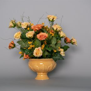 Peach and Yellow Princess Roses with Yellow Mahonia Grass in a Yellow Ceramic Pedestal Urn