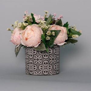 Pink Cabbage Rose with Dusty Miller and Mahonia Grass in a Black Ceramic Pot
