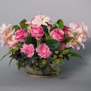 Snap Dragon Carnation and Pink Roses in a Cement Pot