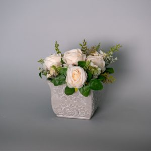 White Cabbage Roses in a Cement Pot