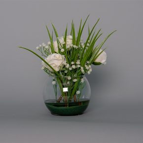 White Roses and Lily Of The Valley in a Small Glass Bowl