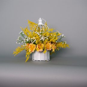 Yellow Princess Rose, Baby Breath and Wild Yellow Leaves in a White Bird Cage