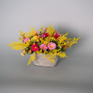 Yellow Queen Anne's Lace, Yellow Fern with Pink Daisies in a Cement Pot