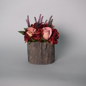 Antique Real Touch Pink Roses with Burgundy Real Touch Hydrangea in a Ceramic Tree Trunk Pot