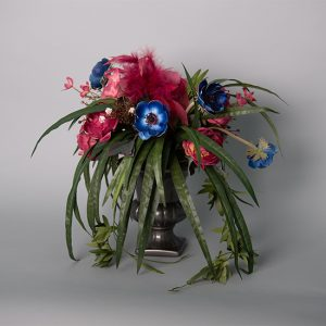 Blue Anemone and Raspberry Cabbage Rose in a Ceramic Grey Urn