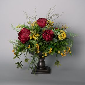 Burgundy Peony with Yellow Queen Anne's Lace in a Dark Grey Wooden Pedestal