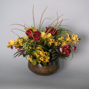 Burgundy Roses with Phaleanopsis and Kalanchoe plant in an Antique Metal Bowl
