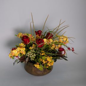 Burgundy Roses with Phalaenopsis and Kalanchoe Plant in an Antique Metal Bowl