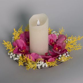Candle Holder Decorated with Hot Pink Orchids, Wild Yellow Leaves and Baby Breath