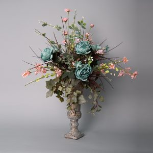 Dusty Blue Peony with Pink Mini daisies and Berry Leaf Spray in an Antique Gold Mandaly Urn