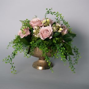 Dusty Roses and Kalanchoe Plant in a Gold Lita Compote