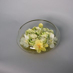 Green Roses Decorated with Green Stones in a Fish Bowl