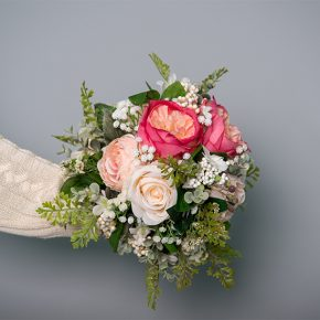 Hot Pink, Cream and Blushed Peonies with Cream Cabbage Roses Arranged with Ferns and White Berries Bouquet