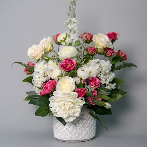 Hot Pink Roses and White Peonies with White Snapdragon Arrangement in a White Ceramic Pot