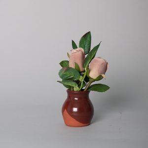 Mauve Rose Buds in a Handmade Amber Ceramic Pot