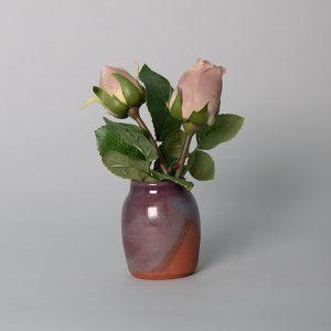 Mauve Rose Buds in a Handmade Purple Ceramic Pot