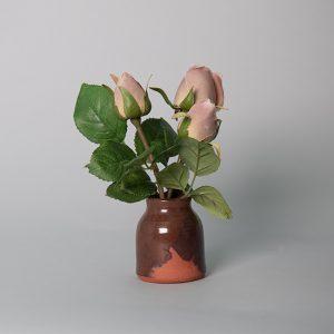 Mauve Rose Buds in a Handmade Red Ceramic Pot