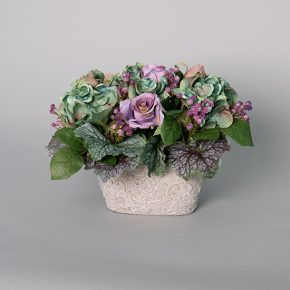 Mini Teal Hydrangea with Mauve Roses in a Cement Pot