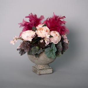 Pink Cabbage Roses with Purple Pick Feathers in an Antique Gold Mandaly Compote