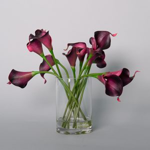 Real Touch Burgundy Cala Lily in Acrylic Water in a Glass Vase