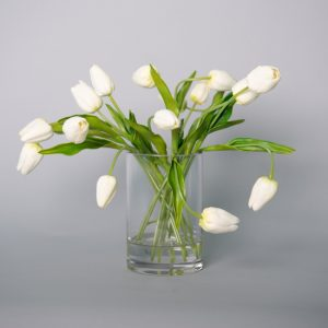 Real Touch White Tulips in Acrylic Water in a Glass Vase