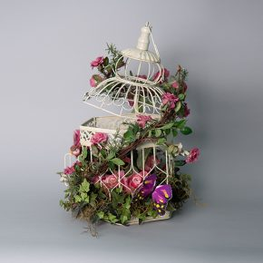 Rustic Bird Cage Decorated with Pink Flowers, Bird and Butterflies