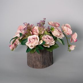 Vintage Mauve Rose with Pink Phalaenopsis Orchid in a Ceramic Tree Trunk Pot