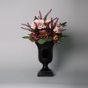 Vintage Mauve Rose with Mauve Hydrangea in a Black Resin Urn