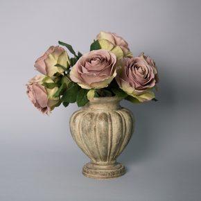Vintage Mauve Roses in an Antique Resin Urn