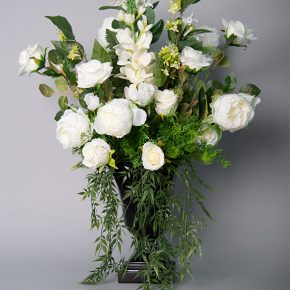 White Peonies and Roses in a Black Resin Urn
