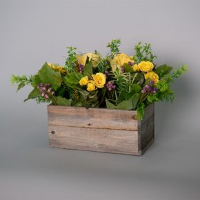 Yellow Roses in a Vintage Wooden Box