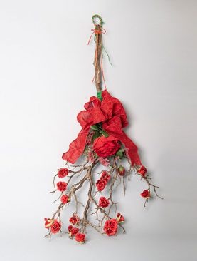 Hanging Branch wrapped with Ribbons and Roses