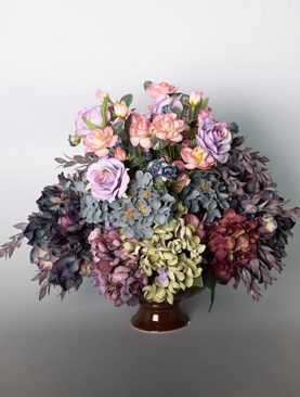 Assorted Hydrangea with Roses in a Ceramic Urn