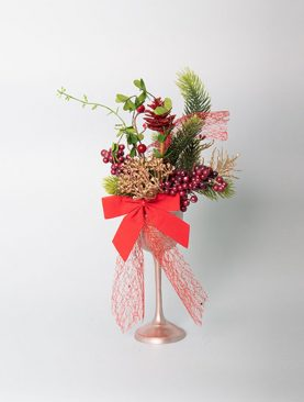 Berry Spray and Gypsophila in a Champagne Glass