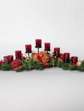 Candle Holder decorated with a Pine Garland and Mini Christmas Ornaments