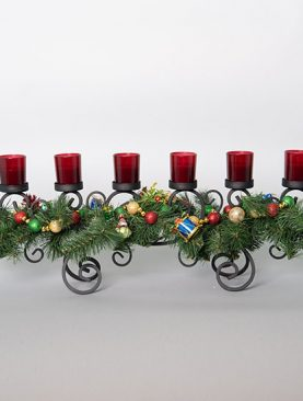 Candle Holder decorated with Berries and Mini Christmas Ornaments