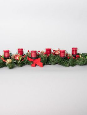 Candle Holder with Berries and Christmas Ornaments