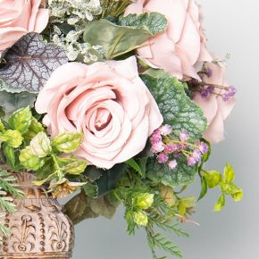 dusty-roses-with-gypsophila-and-fern-in-an-antique-candle-holder-2