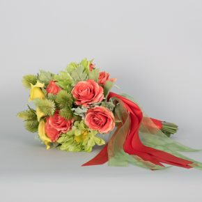 green-and-peach-flower-with-peach-ribbons-bouquets-2