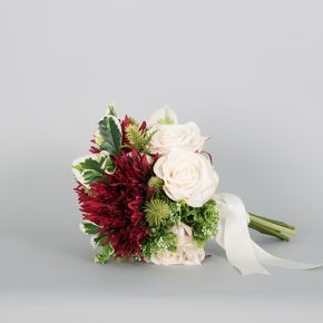 red-white-and-green-flower-bouquet-with-white-ribbons-1