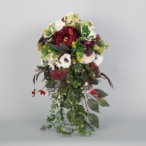 red-white-and-green-flower-cascade-bouquet-with-vines-1