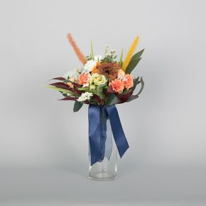 red-white-and-peach-flower-with-autumn-leaves-and-blue-ribbons-bouquet-1