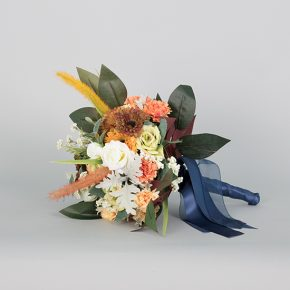red-white-and-peach-flower-with-autumn-leaves-and-blue-ribbons-bouquet-2